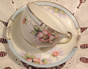 Antique Nippon Handpainted Teacup And Saucer