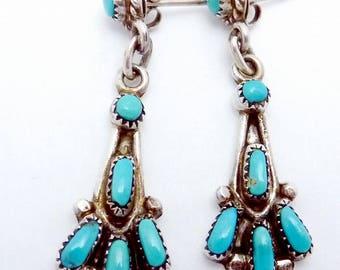 Vintage Bill & Lou Zuni Sterling Silver Turquoise Pierced Dangle Earrings 23078