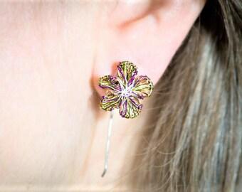 Flower earring stud, purple earring, purple green, cute pin, wire earring, boho chic, autumn earring, birthday gift for her, bridesmaid gift