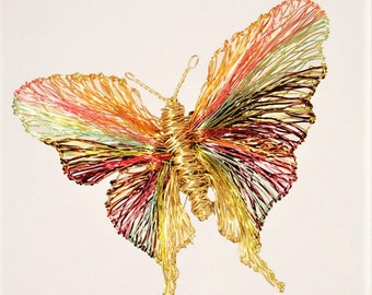 Gold butterfly brooch, insect art jewelry, wire sculpture, large brooch, Christmas present for mom, modern hippie, unusual, colorful jewelry