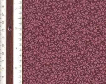 """Wine Stylized Daisy Tone-on-Tone - 10-3/4"""" L X 19"""" W - 100% Cotton Fabric"""