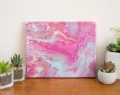 Pink Abstract Painting, Pink Waves Abstract Art, Acrylic Painting, 8x10 painting, Small Painting, Affordable Art, Pink Wall Art