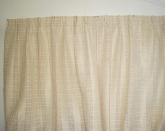 Pair Long Vintage Loose Weave Pinch Pleated Curtain Panels-Two Panels-Neutral Palette