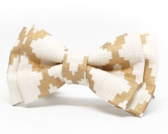 Metallic Gold Patterned Bow Tie for Boys, Toddlers, Baby - pre tied bowtie, wedding, ring bearer, photo prop, holiday