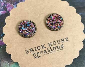 warm sparkle druzy earrings 12mm