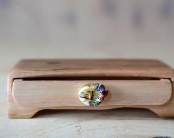Glass pull drawer box. Wood Box. wooden box. glass and wood. wood knot grain box.