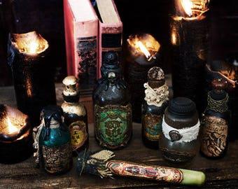 Altered Potion Bottles- Halloween Potion Bottles- Set of 7 Altered Bottles- Halloween Decor- Witches Potion Bottles- Mixed Media Bottles