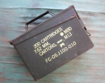 Army Green Metal Hinged Ammo Box, Vintage Metal Ammunition Box, Vintage Metal Ammo Box, Industrial, Vintage Military, Utilitarian