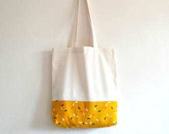 Shopper eco friendly tote market bag mustard yellow, navy blue and pink triangle pattern lined print cotton zero waste produce shoulder bag.