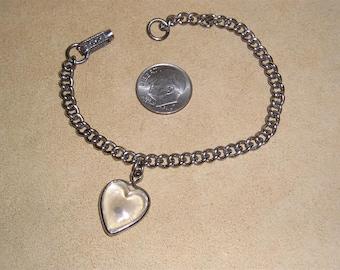 Vintage Mustard Seed Lucite Heart Charm Bracelet 1940's Jewelry 11146