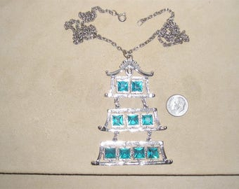 Vintage Large Square Aquamarine Rhinestone Pagoda Pendant Necklace 1950's Jewelry 10026