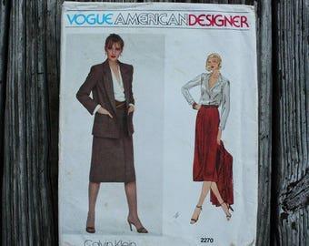 25%off Sizzlin Summer Sal Vogue American Designer Calvin Klein 2270 1970s 70s Skirt Blouse Midi Skirt Vintage Sewing Pattern Size 10 Bust 32