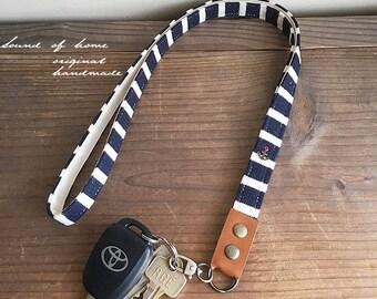 Nautical navy anchor unisex leather keychain key holder lanyard gift idea Japan zakka