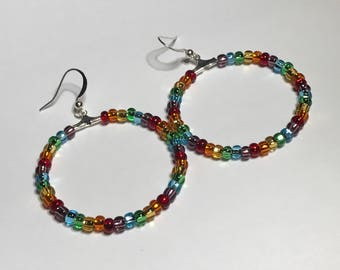Gay Pride Rainbow Hoop Earrings Lesbian Jewelry LGBTQ Gifts Style 2