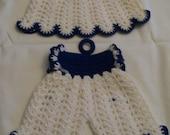 Vintage Crocheted Pot Holders Blue & White Little Dresses Mid Century Retro Decorative Kitchen Circa 1950s Hand Stitched Crochet Potholder