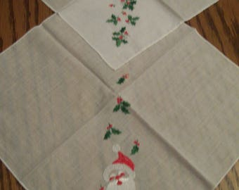 Vintage, Christmas Handkerchief, Embroidered Green Holly, Santa Claus, 2 Different Lady's Christmas Hanky, Hankie, Holiday Accessory