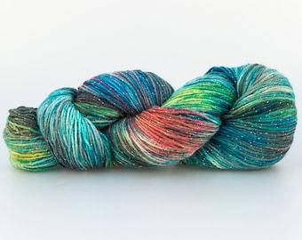Laine Tricotcolor teinture lurex argent wool laine fil fibre fourniture créative tricot crochet kint accessories vert knit mercerie