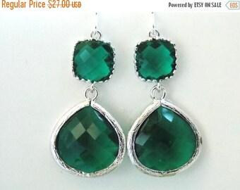 SALE Green Earrings, Green Emerald, Silver Earrings, Emerald Earrings, Wedding Jewelry, Bridesmaid Earrings, Bridal Earrings, Bridesmaid Gif