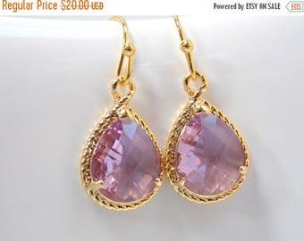 SALE Lavender Earrings, Lilac Earrings, Glass, Gold, Purple, Bridesmaid Jewelry, Wedding Jewelry, Bridesmaid Earrings, Bridesmaid Gifts, Dan