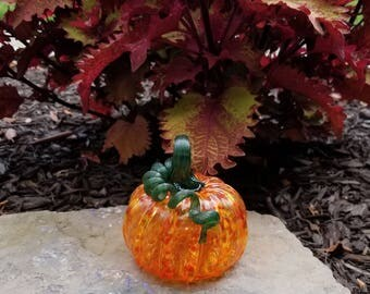 Blown Glass Fire Mix Pumpkin