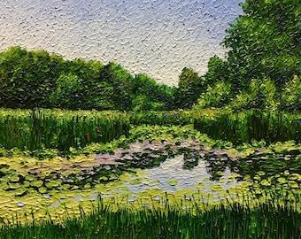 "Original Impressionist Impasto oil painting 11x14"" ""Marsh Midday"""
