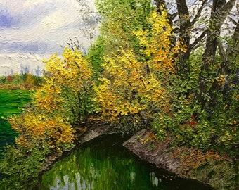 """Original Impressionist Oil Impasto Painting """"Bend in the Stream"""" 16x20"""