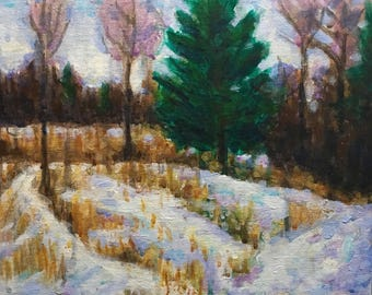 "Original Acrylic Impressionist Painting ""Winter Green 8x10"