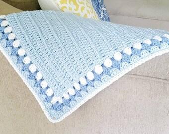"Baby Blue and White Crochet Blanket 26"" x 30"""