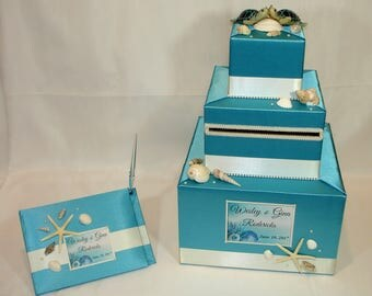 Beach/Ocean themed Wedding Card Box and matching Guest Book with Pen-any colors