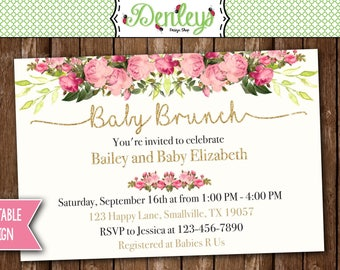 Brunch Invitation, Brunch Baby Shower Invitation, Brunch Shower, Floral Baby Shower (BS03)