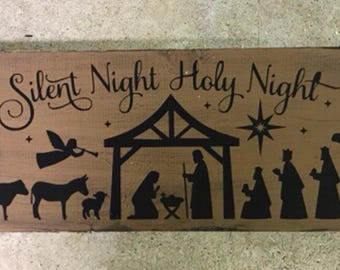 6x24 Nativity wooden sign