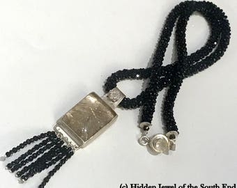 Crocheted Black Spinel necklace with Rutilated Quartz, CZ, pendant & tassel, Black Tie jewelry, gemstone necklace, black necklace, (CR4)