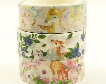 Deer in Forest - Japanese Washi Masking Tape Set - 3 rolls - 5.5 Yard