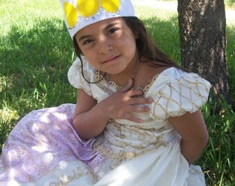 Rapunzel princess .. Perfect white and yellow felt crown just for princesses