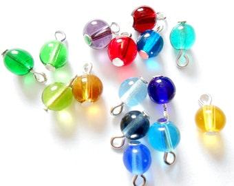Multi-Color Czech Glass Transparent Druk Dangle Beads