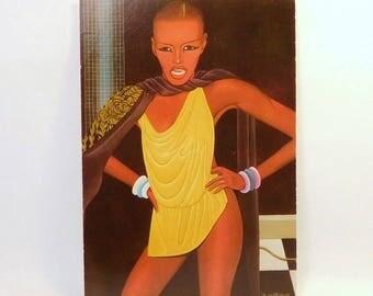 OKU SHIGEO OKUMURA - Grace Jones Card Postcard Art / H. Hutter New York / Japanese Artist / Signed