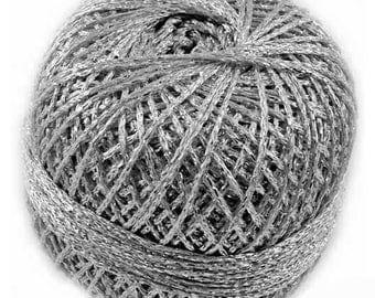 Silver Yarn, Metallic Yarn, Silver Metallic Yarn, Brocade Yarn, Glitter Yarn, Sparkling Yarn, Knitting Yarn, Crochet Yarn, Silver Thread