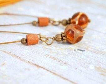 CIJ Tibetan Natural Agate Bead Earrings, Brown Agate Earrings Brown, Earthy Earring, Long Earrings, Hippy Earrings, Boho Earrings