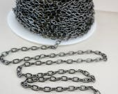 Gun Metal Drawn Cable Chain by the inch, Bulk Jewelry Chain, 4.5x6mm links, Ready to Ship, Unfinished Chain