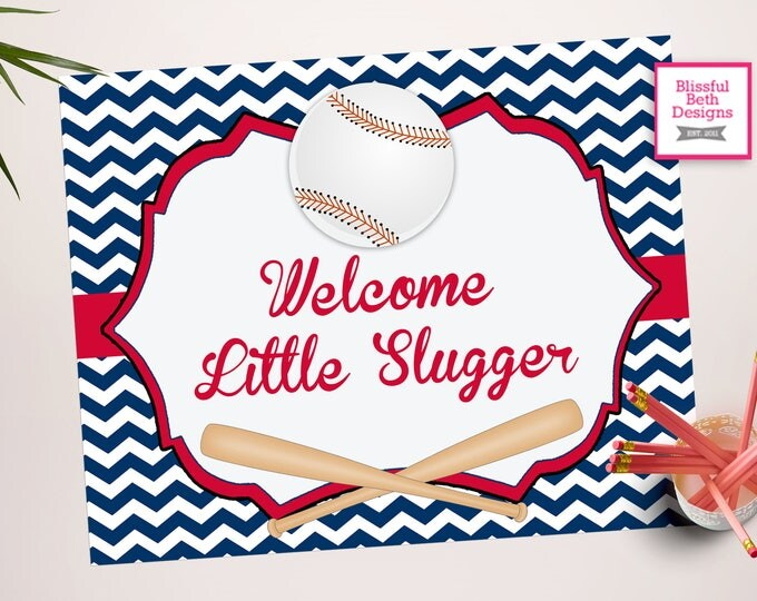 Welcome Little Slugger Sign - Baseball  Sign -Baseball Baby Shower - Baseball Shower - Baseball Shower