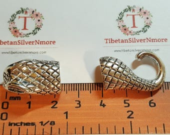 2 pairs per pack 50x14mm 11x5mm opening 10mm depth Snake Head and Tail glue in hook clasp Silver Finish Lead Free Pewter