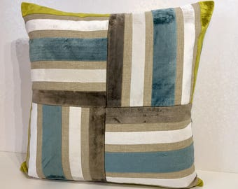 Velvet stripe cushion cover, TEAL stripe pillow, CHARTREUSE cushion, MOCHA velvet pillow, white pillow, stripe Linen cushion, Teal chenille