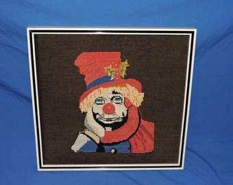 Vintage Clown Needlepoint Picture Framed Dark Brown Red Sad Hobo Red Nose Wall Hanging