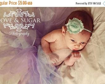 SALE Aqua Shabby Frayed Chiffon Flower Rosette on Skinny Elastic Headband - Newborn Baby Toddler Girl - Photo Prop