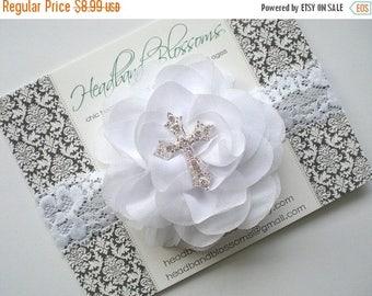 SALE WHITE Chiffon Lace Cross Headband - Chiffon Flower Rhinestone Headband - Baptism Headband - Christening - First Communion - Confirmatio
