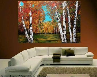 """SALE HUGEOil Landscape painting Abstract Original Modern 48""""X36"""" palette knife Birch Trees  impasto oil painting by Nicolette Vaughan Horner"""