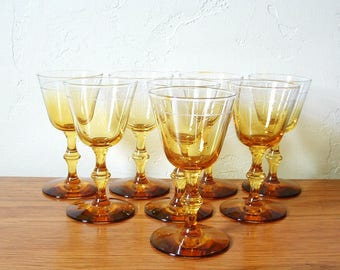 Vintage Amber Cordial Glasses Set of 8 Amber Ombre Yellow Gold Liqueur Glasses, Amber Stemware, Aperitif Glasses, Sherry Glasses Barware