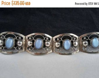 On Sale Vintage Sterling Green Art Glass Mexican Panel Bracelet * Sterling Silver 925 Bracelet *  1960's Vintage Signed Taxco Jewelry