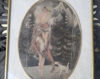 Now On Sale Rare 1920's Flapper Girl Wall Hanging Picture, Louis Icart Style Bernart Corp NY, Antique Home Decor, Art Deco Art Nouveau Colle