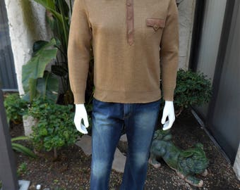 Vinage 1970's Pierre Sangan Brown Wool Fine Gauge Pullover Sweater with Leather Accents - Size Large